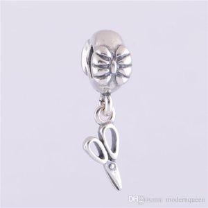 5 PCS / Lot Vintage Scissor Dangle Charmes Authentique 925 Sterling Silver Fits pour Bracelet Style H9ale