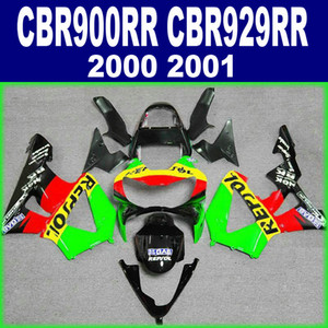 Bodykits für HONDA CBR 900 RR CBR929 00 01 Verkleidung Kit CBR900RR 2000 2001 grün rot REPSOL Verkleidung Set HB95