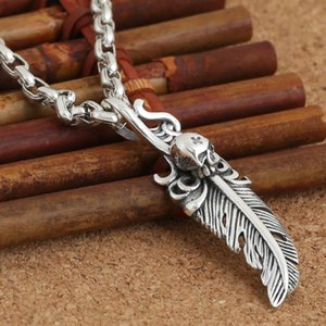 Personalized Brand new 925 sterling silver fashion jewelry necklace pendant American vintage style cute feather & skull free shipping gift