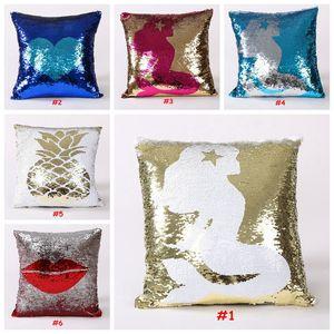 Magic Pillow case 홈 더블 컬러 반짝이 장식 조각 던지기 베개 상자 안전한 홈 스퀘어 블링 장식 40 X 40cm