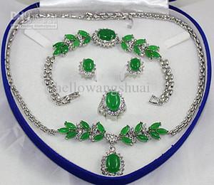 Moda Gümüş Yeşil Yeşim Kolye Bilezik Küpe Yüzük Setleri / Taş Takı Setleri