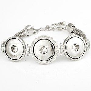 NBR855 Vendita calda Snap BraceletBangles argento placcato braccialetto di alta qualità fai da te bottoni automatici gioielli 3 scatta