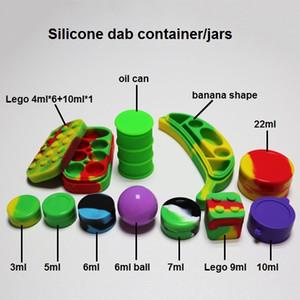 Yapışmaz silikon kaplar 3ml 5ml 6ml (top) 7ml 9ml 10ml 22ml 4ml * 6 + 10m l * 1 FDA onaylı bütan hash yağı dab balmumu buharlaştırıcı için 1 balmumu kavanozlar