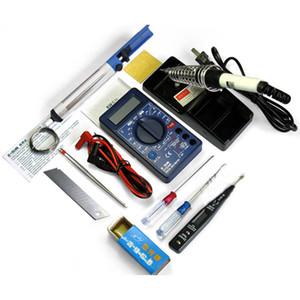 Multímetro DT830B + 220v 30W Solder Iron + lápiz ecléctico + otro kit de herramientas de soldadura bricolaje electirc (12 piezas en 1 paquete)