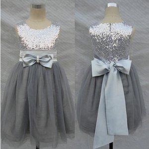 Bling Bling Flores Vestidos de niña Boda Plateado Gris Lentejuelas Sash Bow Tulle Vestido floral para niñas