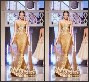New Wear Sequined Mermaid Sheer Juwel-Ausschnitt-Partei-Abend-Kleider 3D Appliques Fußboden-Längen-formales Kleid Elie Saab Gold-Kleid-Abend-270