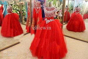 New Arrival 2019 Sexy Ball Gown Organza Crystal Rhinestones Prom Party Gown Floor -Length Prom Dresses Party Dresses Evening Dresses