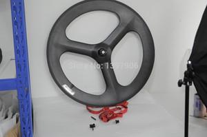 3k  matt 700c carbon fibre tri-spokes  3-spoke front clincher wheels for road bike with 70MM