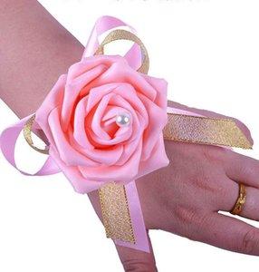 Bridesmaid Girl Wrist Corsage Silk Rose Flower Fatti a mano Forniture di nozze all'ingrosso Bellissimi fiori da sposa a buon mercato