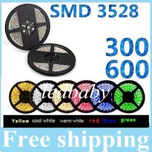 3528SMD 5M 300 Leds / 600 Leds Su geçirmez esnek led şeritleri ışık 12 V sıcak / soğuk beyaz kırmızı / yeşil / mavi / sarı / pembe Noel için ışıkları