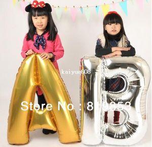 4 Adet Lot 36 inç Büyük Gümüş Mektubu A-Z Folyo Balon Düğün Dekorasyon Balon Doğum Günü Balon Parti Balon Ücretsiz Kargo