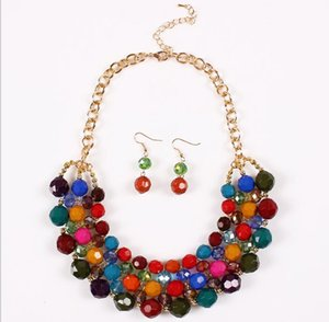 Hot Sweet Elegant Women Bohemian Bib Gem Choker Necklace & Fresh multicolor Statement Pendant Necklaces moda mujer