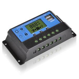 Regulador del regulador del cargador solar de la alta calidad 10A 12V 24V Digital con la exhibición del LCD Puertos de carga del USB 2pcs / lot FreeShipping