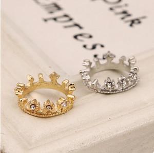 Anillos Moda Oro / aleación de plata chapada en corona Cluster anillos mujeres joyería Nuevo Elegante Rhinestone anillos de dedo venta al por mayor envío de la gota SR201