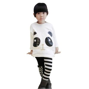 2 adet bebek seti kıyafetler kız çocuklar karikatür panda kazak sevimli madeni pul panda batwing kollu kazak ceket çizgili pantolon yeni 2016 sonbahar