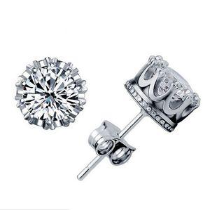 1CT Pendientes de cristal austriaco 925 plata esterlina chapado 30% blanco corona de oro pendientes de perno prisionero boda elementos de compromiso joyería