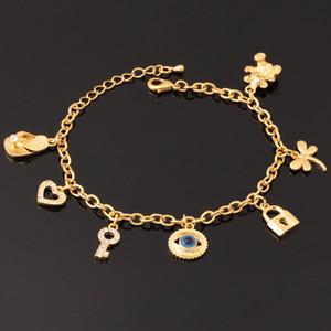 18K reales Gold überzog schlechte Augen nette Armband Key Lock Bär Herz-Qualitäts-Armbänder für Mädchen Schmuck Großhandel YH5184