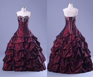 Burgundy Rhinstone Vestidos de quinceañera Vestidos de fiesta Cariño Vestido de fiesta Elegnat Vestido del concurso Puffty Crystal Beading Prom Gowns 2015