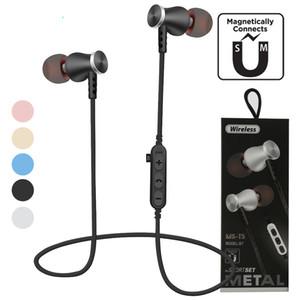 MS-T5 المغناطيسي بلوتوث الرياضة سماعات لاسلكية تشغيل سماعة مع مايكروفون MP3 ياربود باس ستيريو BT 4.2 على الهاتف المحمول نموذج جديد