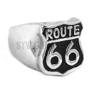 الشحن مجانا! Route 66 Ring الطريق الأم USA Highway Motor Biker Ring الفولاذ المقاوم للصدأ Jewelry Historic Route 66 Ring SWR0277H