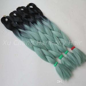 Kanekalon Jumbo Braiding Synthetic Hair 24 인치 100G BlackMint 무딘 Green Ombre Two Done For Dreads 크로 셰 뜨개질 상자 Twist Braids