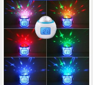Fashion Cool Luminoso Snooze Digital Alarm Clock Música Star Sky Digital LED Projection Alarm Reloj Niños con luz de fondo