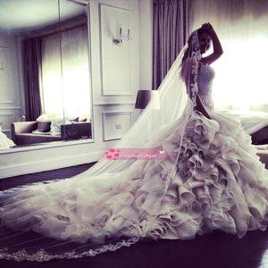 Impresionante sirena vestidos de novia 2015 de novia con cuentas de corsé espalda volantes organza corte tren vestidos de novia por encargo BO7216
