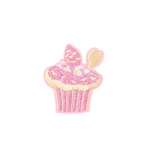 10 PCS Pink Cake Embroidered Patches for Kids Clothing Iron on Transfer Applique Patch for Jeans DIY Sew on Embroidery Badge Sticker