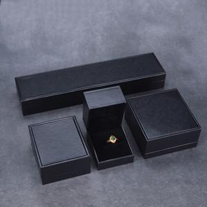 Классические черные ювелирные изделия коробки из кожзаменителя бумаги с бархатными вставками ювелирные изделия подарочные кольца подвеска шарман браслет браслет серьги упаковочные коробки