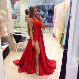 2016 Red Prom Dresses Sexy V-Ausschnitt Side Split Abendkleid Party Prom Dress Formal Kleider US-Größe
