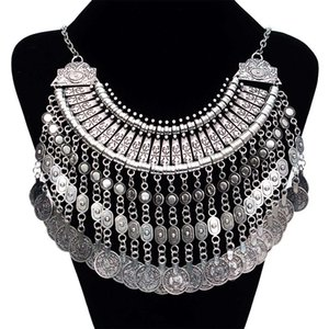 2015 New Bohemian Gypsy Fashion Coin Necklace Long necklace Pendant Chokers Vintage Silver statement maxi Necklace for women