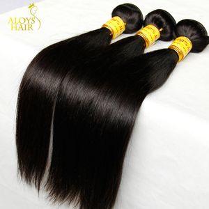 Дешевые Малайзии Прямо Девственные Волосы Необработанные Человеческие Волосы Ткать Пучки Малайзии Прямые Реми Landot Волос