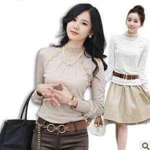 Женские футболки дамы повседневная с длинным рукавом кружева футболка с высоким вырезом футболки рубашки 381
