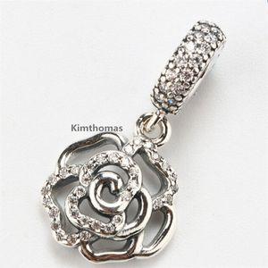 925 Ayar Gümüş Pırıltılı Gül Dangle Charm Boncuk ile Temizle Cz Avrupa Pandora Takı Bilezikler Kolye Kolye Uyar