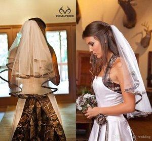 2016 Camo corto Velos nupciales codo longitud Camo Ribbon Edge velos de la boda piezas de pelo para novias por encargo