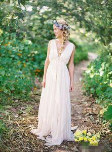 Vestidos de boda de la playa sin espalda griega V cuello que fluye Vestido nupcial de Boho de la vendimia Una línea Vestido de boda de la diosa griega de la vendimia Estilo del verano