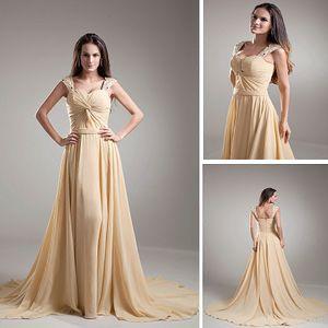 Champagne élégante longue ligne à la ligne perlée Sangles paillettes robe de soirée en mousseline de chérie chérie robe de bal perlées robes de fête de plis