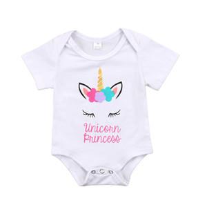 Güzel Yenidoğan Bebek Kız Unicorn Prenses Romper Tulum Kıyafetler Giysileri Yaz Bebek Bebek Kız Tulum Güzel Çocuk Giyim 0-18 M