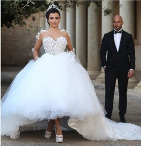 Güzel Beyaz Tül Balo Gelinlik ile Uzun Kollu Dantel Aplike Arapça Düğün Gelin Törenlerinde Custom Made Vestido De Novia