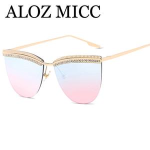 ALOZ MICC Marca Designe Mulheres Diamante Óculos De Sol Retro Feminino Oversize Espelho Óculos De Sol Oculos De Sol UV400 A381