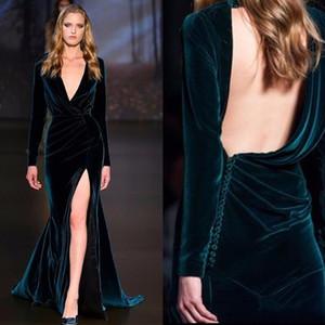 2018 새로운 섹시한 이브닝 드레스 짙은 녹색 긴 소매 등이없는 벨벳 인어 높은 슬릿 Elie 사브의 행사 착용 연예인 복의 가운
