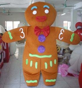 100% echte Fotos von Gingerbread Man Maskottchenkostüm für Erwachsene zum Verkauf zu Weihnachten