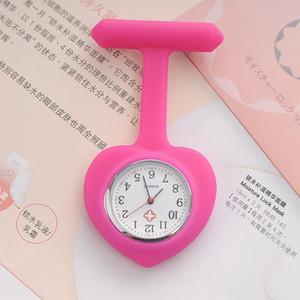 Candy Heart Forma Enfermeira Doutor Relógio de Silicone Borracha Pendurar Senhoras Pocket Pocket FOB Clip Enfermeira Medical Watch