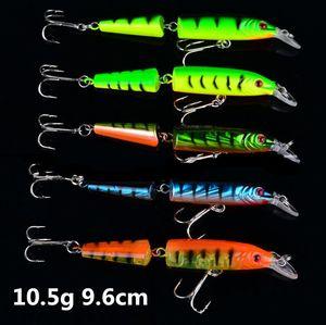 Dos secciones Walkingdog acción wobbler señuelo 10.5cm 9.6g 5 colores Minnow plástico Topwater fishing Señuelos 6 # ganchos cebo duro