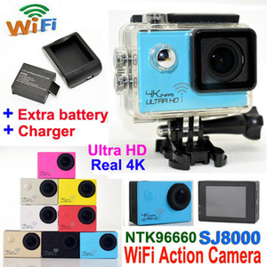 Ultra HD 4K Водонепроницаемая камера 24fps SJ8000 Wi-Fi Спортивные экшн-камеры 1080P / 60fps 2.0 LCD 170D Объектив Шлем Cam Cam мини видеокамера DVR