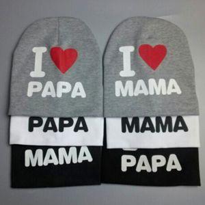 2015 neue Baby Hut Baumwolle gestrickte warme Beanie Hut für Kleinkind Baby Hut Kinder Mädchen Boy Mütze Ich liebe Papa MAMA Print Baby Mütze