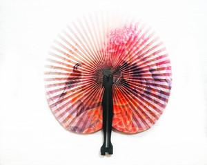 Wholesale- 2Pcs/lot Paper Fan Holiday Sale Paper Hand Fan Folding Wedding Party Supplies Colorful Wedding Decoration