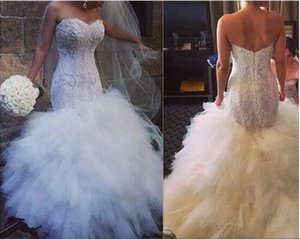 2018 Sweetheart Sexy Cascading Ruffles Arabic Mermaid Wedding Dresses Lace Plus Size Vestidos De Novia Bridal Gowns For Garden Custom Made