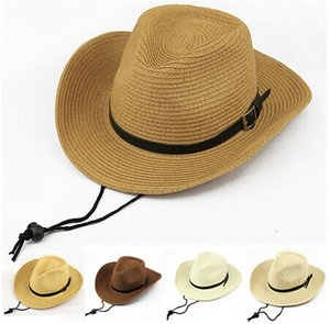 Los hombres de la alta calidad que doblan el sombrero de Sun de la playa del verano del sombrero de paja del vaquero, 6PCS / LOT liberan el envío