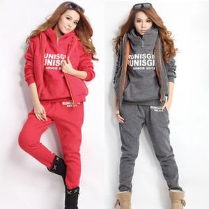 venta al por mayor mujeres de la marca traje de invierno de moda con capucha de las mujeres chándal 3 piezas conjunto sudadera trajes qiality coat + pants + chaleco
